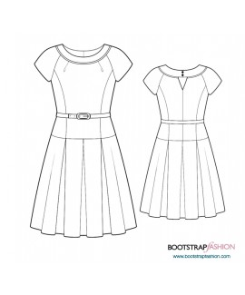 Custom-Fit Sewing Patterns - Raglan Sleeved Dress With Pleated Skirt