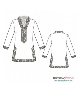Custom-Fit Sewing Patterns - Long SleeveTunic With Collar Stand