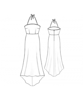 Custom-Fit Sewing Patterns - Gown With Halter Tie And Rhinestones