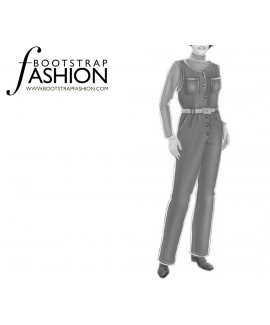 Custom-Fit Sewing Patterns - Belted Coveralls with Pockets