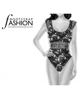 Custom-Fit Sewing Patterns - Lace Trimmed Bodysuit With Cap Sleeves