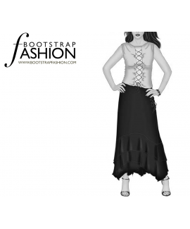 Custom-Fit Sewing Patterns - Layered High-Low Skirt
