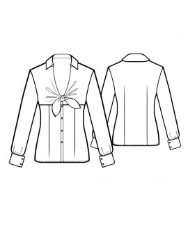 Custom-Fit Sewing Patterns - Fitted Blouse with Tie Neck