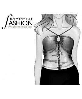 Custom-Fit Sewing Patterns - Ruched Front Knit Tube With Halter Ties
