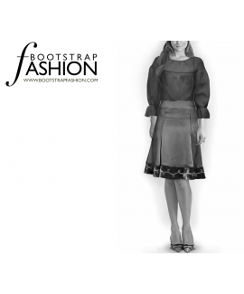 Custom-Fit Sewing Patterns - Color Trim A-Line Skirt