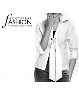 Custom-Fit Sewing Patterns - Long-Sleeved Blouse with Collar and Tie