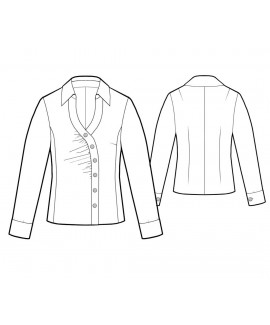 Custom-Fit Sewing Patterns - Long-Sleeved Blouse with Asymmetrical Buttons