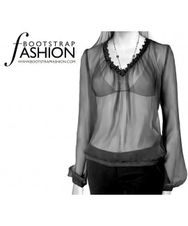 Custom-Fit Sewing Patterns - Loose Fitting Blouse with V-neck