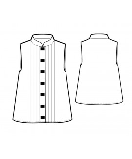 Custom-Fit Sewing Patterns - Sleeveless Blouse with Mandarin Collar