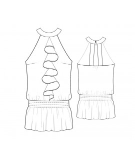 Custom-Fit Sewing Patterns - Ruffle Front Halter Blouson