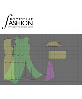 Custom-Fit Sewing Patterns - Draped Asymmetrical Turtleneck Knit Dress