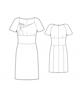 Custom-Fit Sewing Patterns - Short-Sleeved Dress with Asymmetrical Neckline