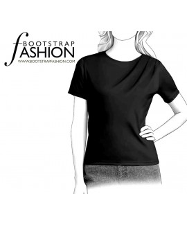Custom-Fit Sewing Patterns - Draped Shoulder Knit Top
