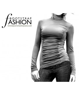 Custom-Fit Sewing Patterns - Ruched Front Knit Turtleneck