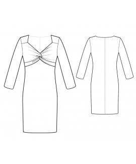 Custom-Fit Sewing Patterns - Sweetheart-Neck Long-Sleeved Dress