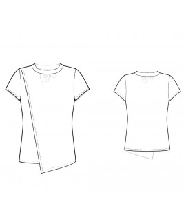 Custom-Fit Sewing Patterns - Round-Neck Blouse with Asymmetrical Drape