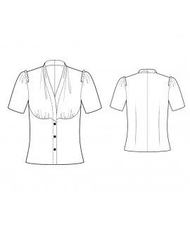Custom-Fit Sewing Patterns - Short-Sleeved Drape-Neck Button-Down Blouse
