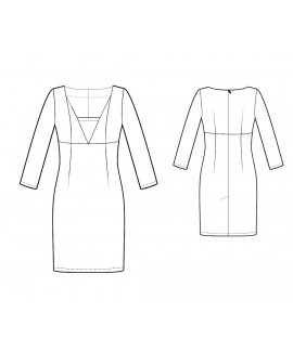 Custom-Fit Sewing Patterns - Long-Sleeved, Fitted, V-Neck Dress