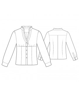 Custom-Fit Sewing Patterns - V-Neck Empire-Waist Button-Down Blouse