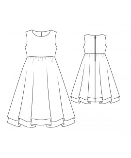 Custom-Fit Sewing Patterns - Dress With High-Waist and Full Two Layer Skirt For Girls