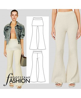 Custom-Fit Exclusive Designer Pattern. Easy 2-in-One Knit Pull-On Bell Bottom Pants With Step-by-step Sewing Instructions.