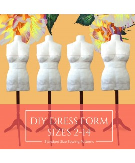Instant PDF Download DIY Stuffed Dress Form in Standard Sizes 2-14 Sewing Patterns in Letter Format.