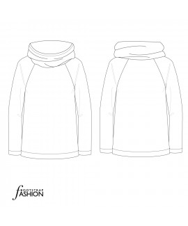 Custom-Fit Sewing Patterns - Cowl Hoodie Sweatshirt. Includes Step-by-Step Illustrated Sewing Instructions.