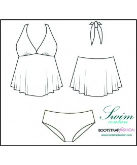 Exclusive! Custom-Fit Swimwear: 2-piece Babydoll Tankini Set. Includes Step-by-Step Illustrated Sewing Instructions.