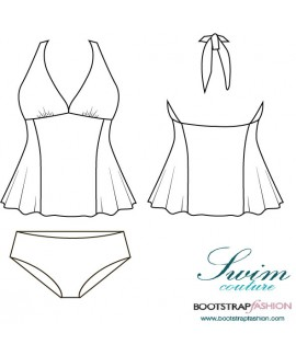 Exclusive! Custom-Fit Swimwear: 2-piece Tankini Set. Includes Step-by-Step Illustrated Sewing Instructions.