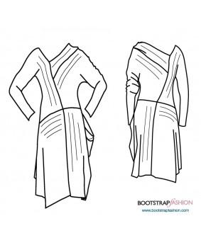 Exclusive! Svita Custom-Fit Sewing Patterns - Asymmetrical Dress. Includes Step-by-Step Illustrated Sewing Instructions.