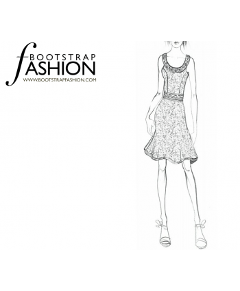 Custom-Fit Sewing Patterns - Fit And Flare Halter Dress