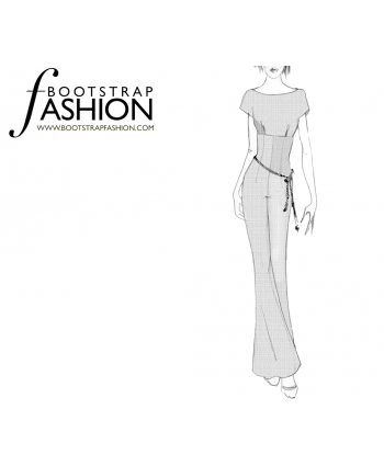 Custom-Fit Sewing Patterns - Boat Neck, Wide Leg Jumpsuit
