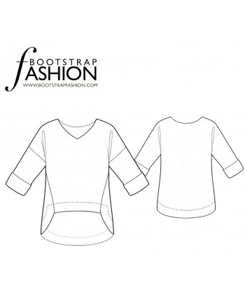 Custom-Fit Sewing Patterns - V-Neck Oversized Top High Low Hemline