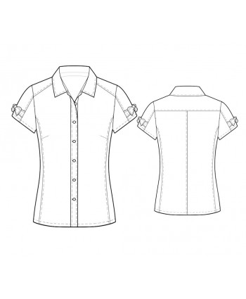 Custom-Fit Sewing Patterns - Short-Sleeved Button-Down Tailored Blouse
