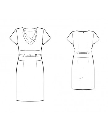 Custom-Fit Sewing Patterns - Short-Sleeved Cinch Belted dress