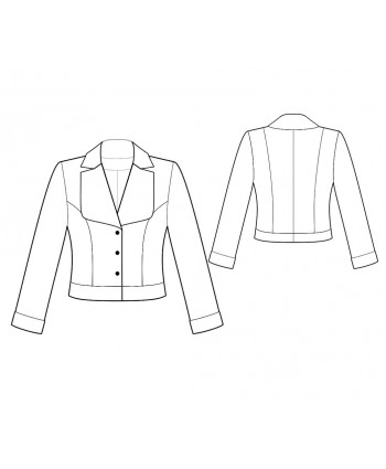Custom-Fit Sewing Patterns - Cropped Fitted Jacket With Wide Notched Lapels