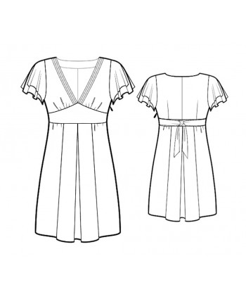 Custom-Fit Sewing Patterns - Capped Sleeve V-Neck Dress
