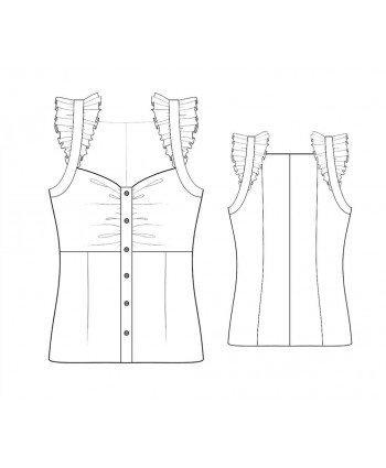 Custom-Fit Sewing Patterns - Button Front Camisole With Ruffles