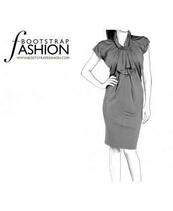 Custom-Fit Sewing Patterns - Jabot Ruffle Front Draped Dress