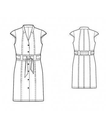 Custom-Fit Sewing Patterns -Buttonfront V-Neck Shirt Dress With Wide Belt