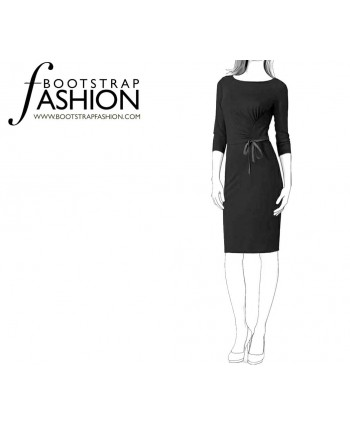 Custom-Fit Sewing Patterns - Boatneck Draped Knit Dress