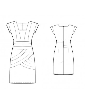 Custom-Fit Sewing Patterns - Bandage Seamed Cap Sleeves Dress