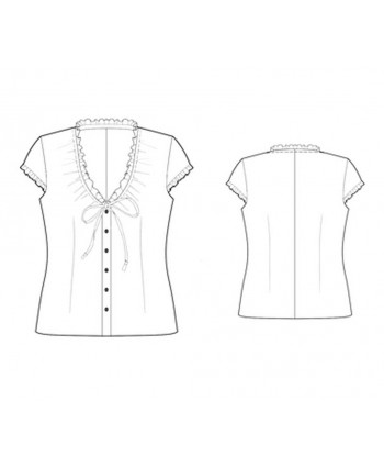 Custom-Fit Sewing Patterns - Capped-Sleeved V-Neck Button-Down Blouse