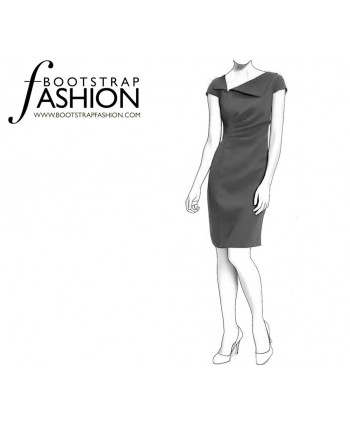 Custom-Fit Sewing Patterns - Draped Sheath Asymmetrical Neckline With Lapel Detail