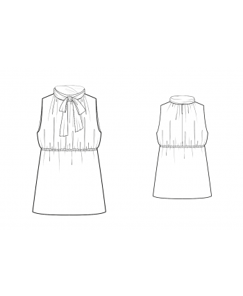 Custom-Fit Sewing Patterns - Tie-Neck Gathered Blouse