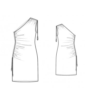 Custom-Fit Sewing Patterns - One Shoulder Draped Knit Dress