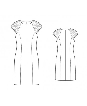Custom-Fit Sewing Patterns - Jewel Neck Princess Seams Dress With Ruched Cap Sleeves
