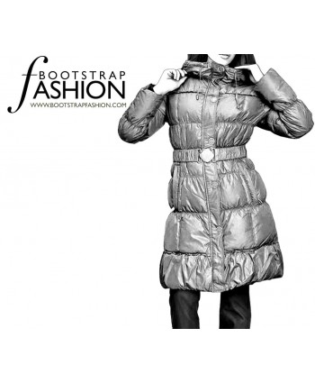 Custom-Fit Sewing Patterns - Puff-Style Coat with Belt and Hood