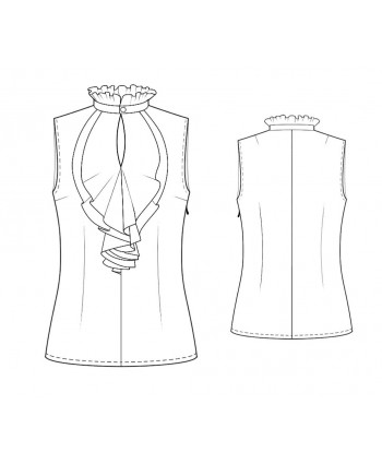 Custom-Fit Sewing Patterns - Sleeveless Ruffle Neck Blouse