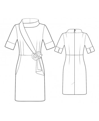 Custom-Fit Sewing Patterns -  Collar with Asymmetrical Shawl  Detail